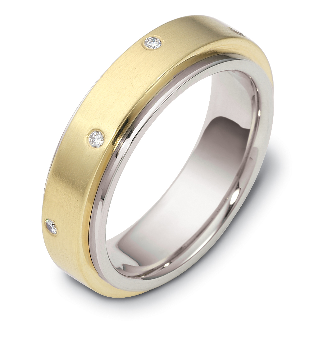 14K Two Tone Classic Rolling Dia 6MM Wedding Band 1 10 cttw sz 4 14