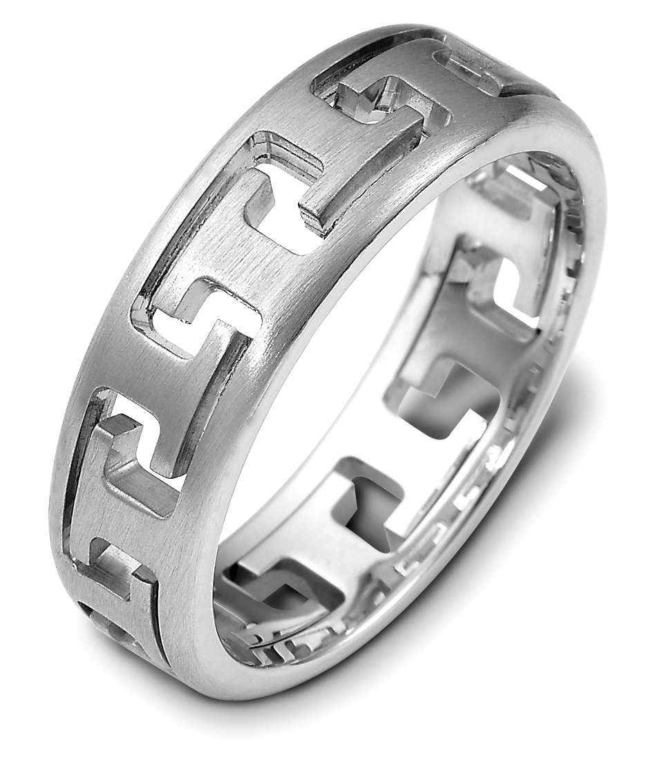 14K White Gold Puzzle Ring 6 5MM Wedding Band sz 4 14
